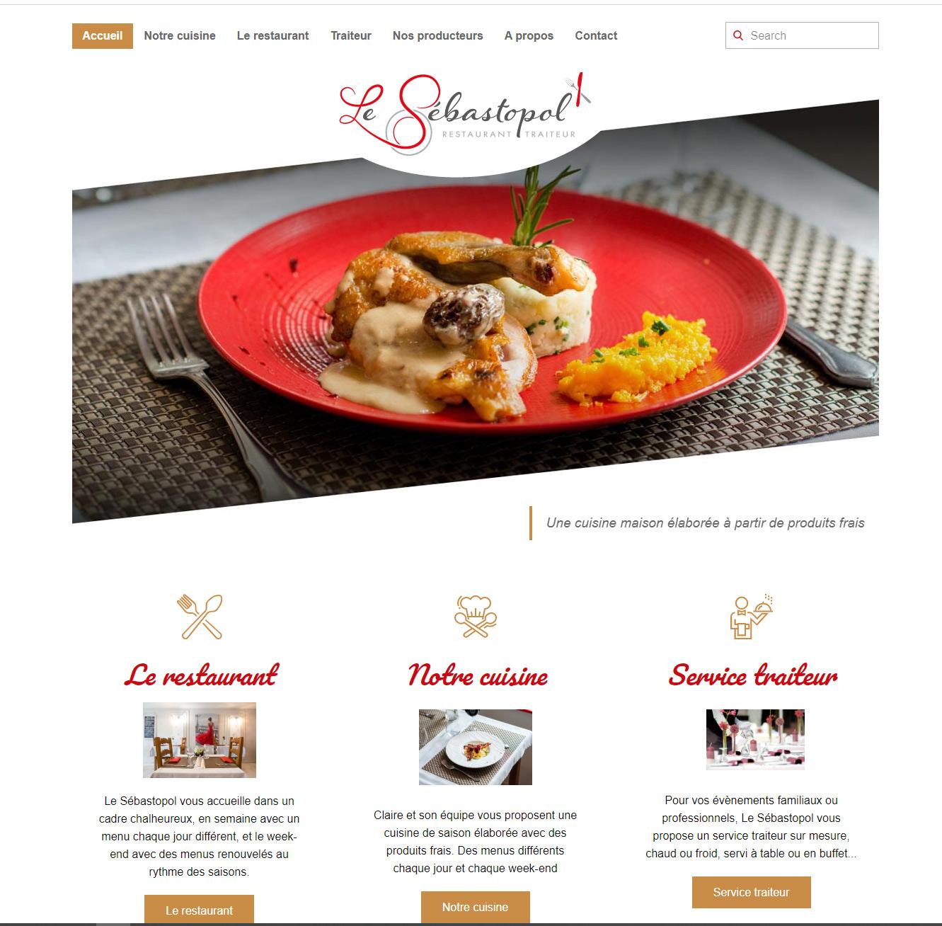 Création du site internet du restaurant le Sébastopol à Champrond en Gâtine